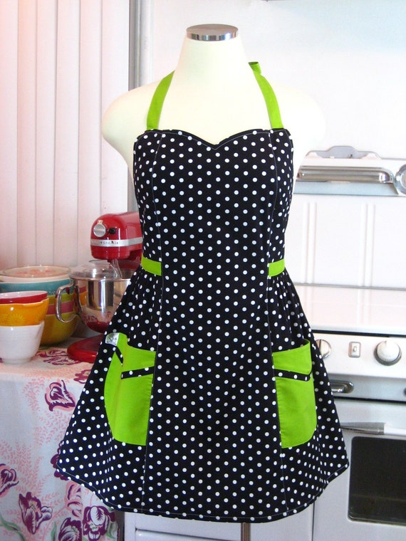 Plus Size Apron - Polka Dot Black White with Lime Green