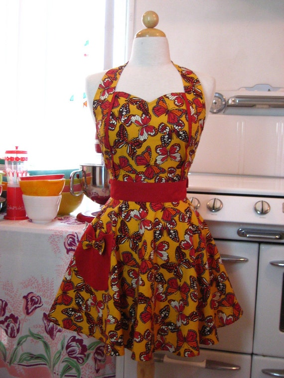The MAGGIE Vintage Inspired Monarch Butterflies Full Apron