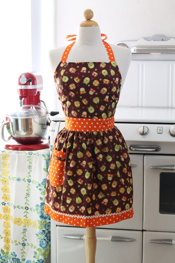 Apron Retro Happy Owl Brown CHLOE