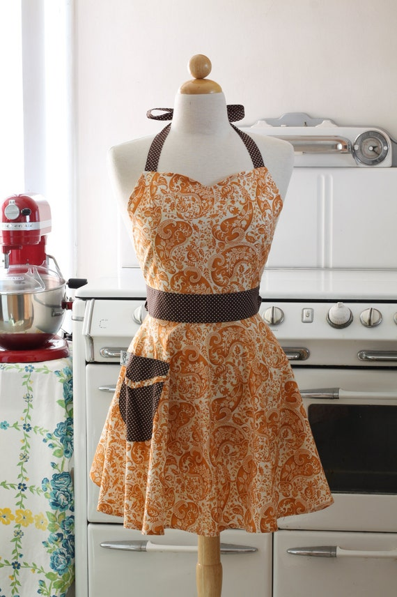 The BELLA Vintage Inspired Watercolor Paisley Full Apron