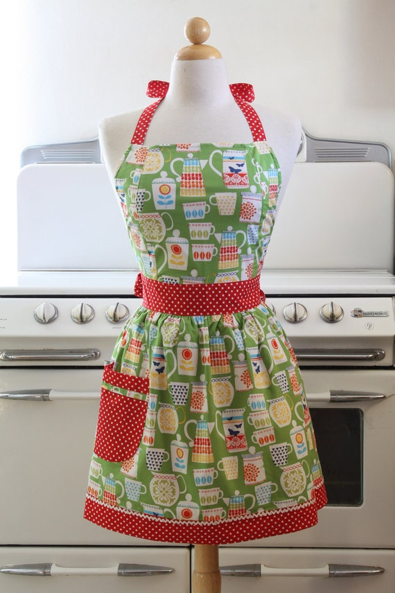 Apron Retro Style Teapots and Teacups on Green CHLOE Full Apron