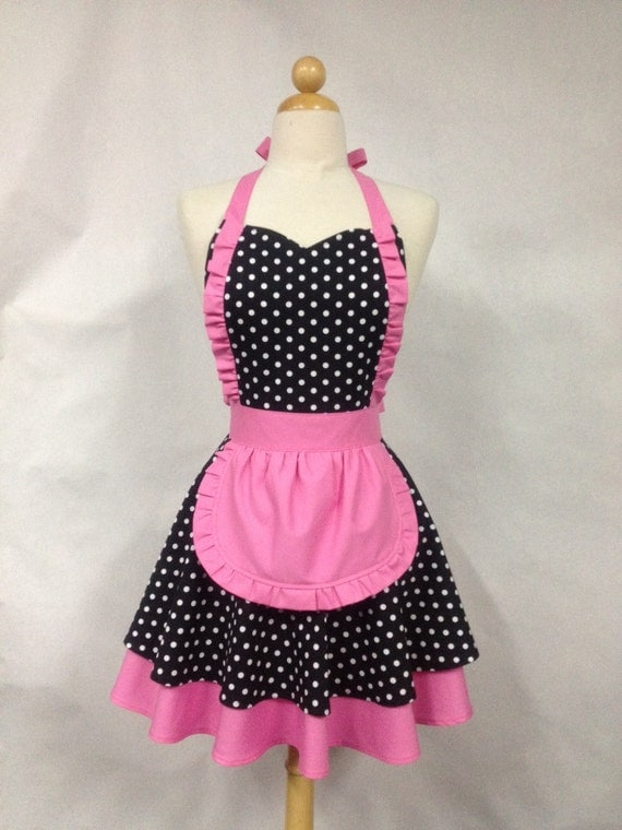French Maid Apron Polka Dot with Hot Pink - MIMI Retro Full Apron