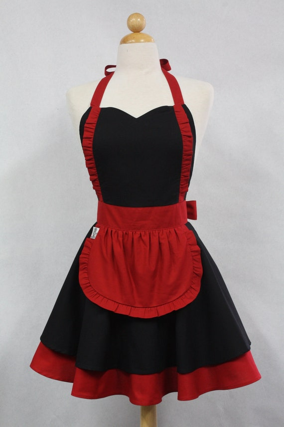 Apron French Maid Solid Black with Red Double Circle Skirt Retro Full Apron