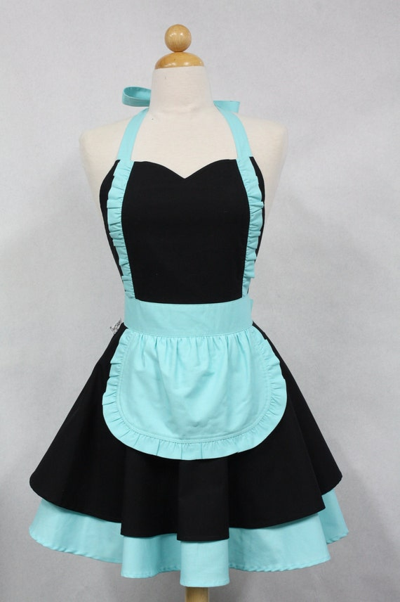 Apron French Maid Solid Black with Aqua Double Circle Skirt Retro Full Apron