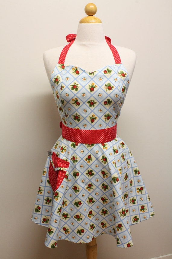 Apron Retro Style Blue Strawberry Patch Full Apron BELLA Vintage Inspired