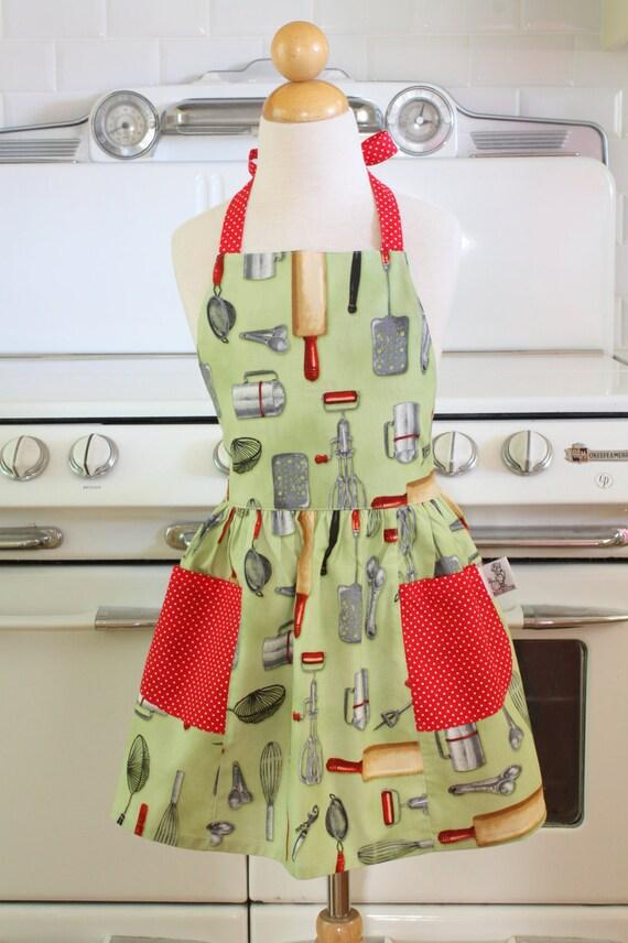 Retro Child Apron Green Kiss the Cook