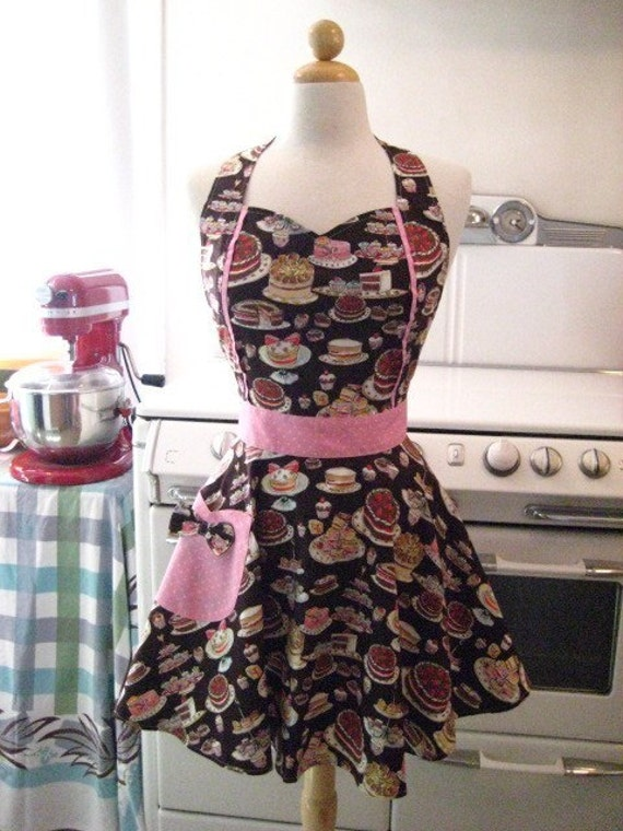 The MAGGIE Vintage Inspired Chocolate Brown Cake and Desserts Full Apron