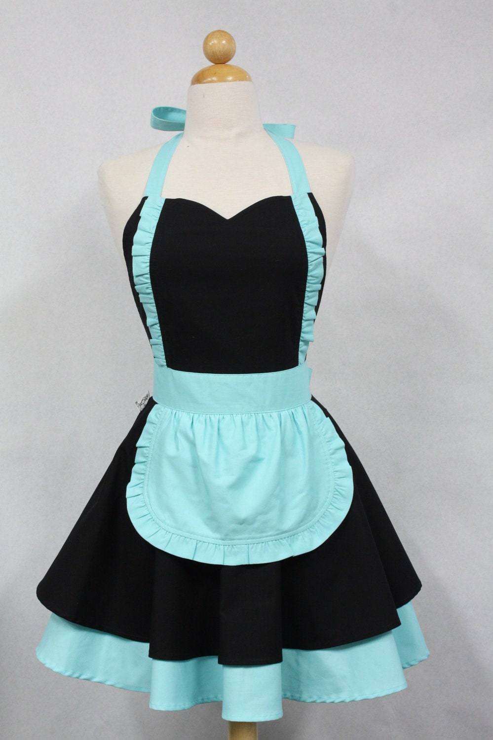 apron french maid solid black with aqua double circle skirt. Black Bedroom Furniture Sets. Home Design Ideas