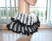 SALE - Crocheted Cowl Hoodie - Reversable  Black and White