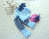 Barbie Clothes - Knit Blue and Pink with Faux Fur  3  Piece Set Fashion Doll under 10 dollars