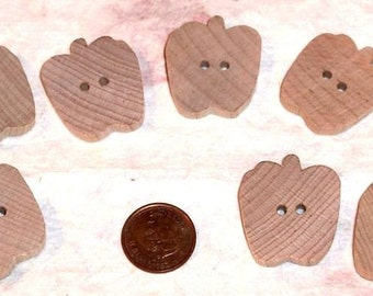 Wood Buttons - Set of 4 - Apple Buttons -