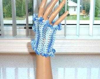 Fingerless Gloves Crocheted Blue and Sparkle