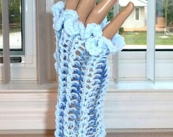 Fingerless Gloves Crocheted Blue and Darker Blue Mix Sparkle