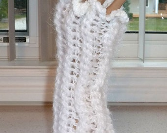 Fingerless Gloves Crocheted with 2 Yarns Sparkle White and White