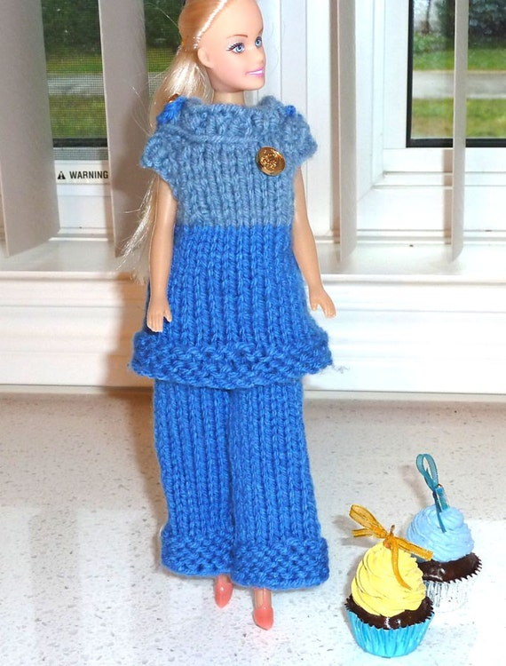 Barbie Clothes - Blue Knit  Pant and  2 Top Under 10 Dollars