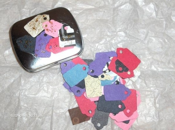 Hand Made Tags in DECORATED and HINGED Mini Tin