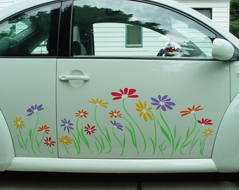 Volkswagon Beetle Side Panel Daisy Multicolor Vinyl Decal Stickers