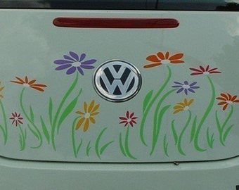 Daisy Flower Decal in Multicolors for VW Beetle--Trunk Only