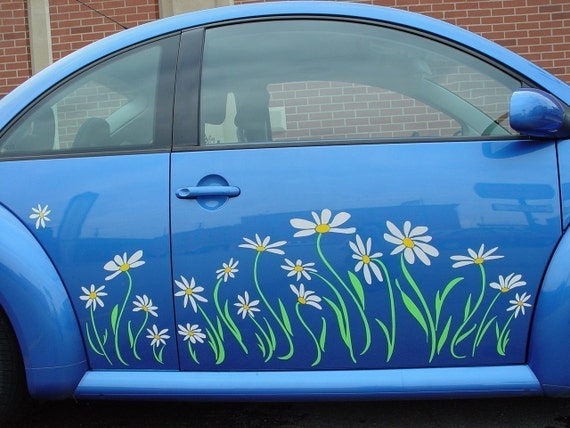 Daisy Flower Vinyl Decal Sticker Graphics for VW Beetle-- Two Side Panels to fit 2011 and Older Beetles