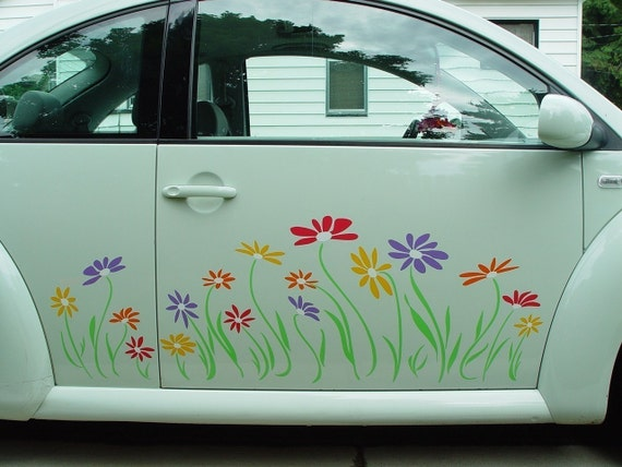 Daisy Flower Decal Stickers in Multicolor Vinyl for Volkswagon Beetle