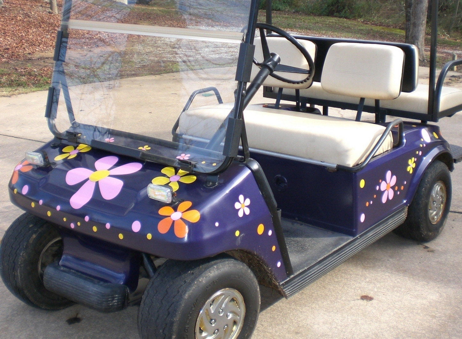 Hippy Flowers For Your Golf Cart Vinyl Decal Sticker Adhesive