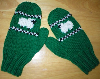 In Like a LION out like a LAMB - adult mitten - sheep
