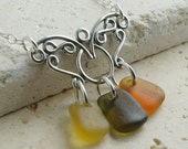 Authentic Sea Glass Necklace - Autumn Sterling Silver Butterfly Chandelier