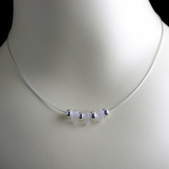 White Sterling Silver Bead Necklace - Sea Glass Jewelry Designs