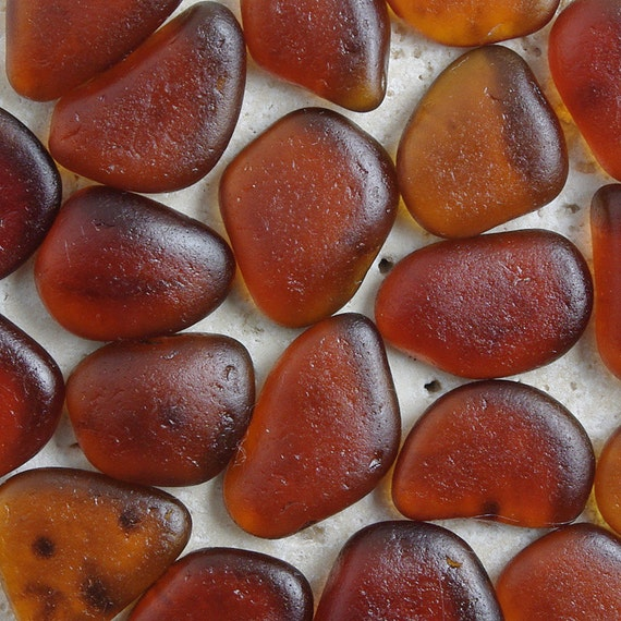 Rootbeer Brown Sea Glass - 20 Pieces Loose Seaglass - Mosaic Craft Supplies