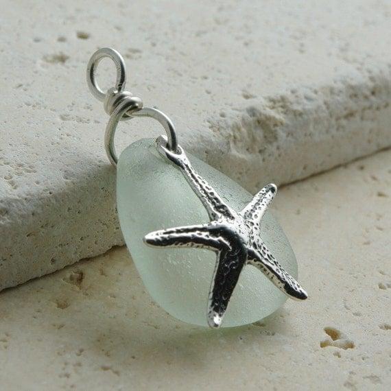 Handmade Eco-Friendly Jewelry - Authentic Sea Glass Pendant - Seafoam Sterling Silver Starfish