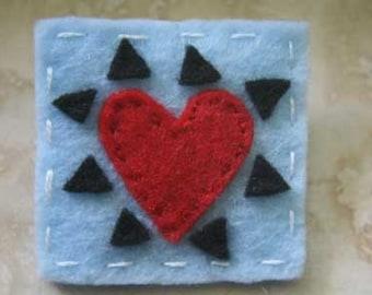 Heart with Spikes Felt Brooch