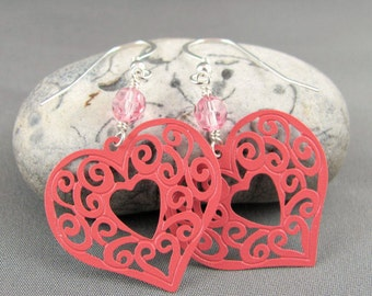 Filigree Heart Earrings - Pink Enameled Brass Filigree Hearts with Swarovski Crystals Valentines Day Gift