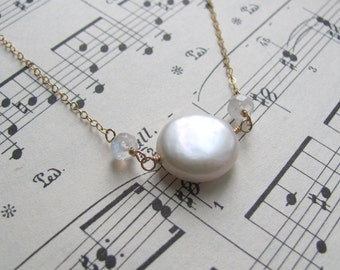 Coin Pearl Solitaire Necklace - with Moonstone and Gold