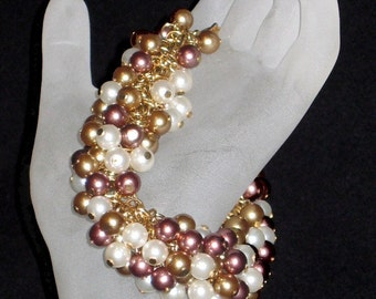 Gold, Rose, and Ecru Berry Charm Bracelet