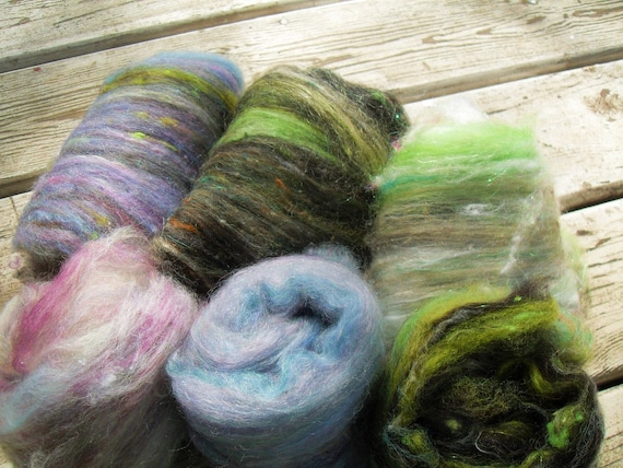 Spinning Wool Batts lil This and That Mostly Green and Purple CLEARANCE SALE