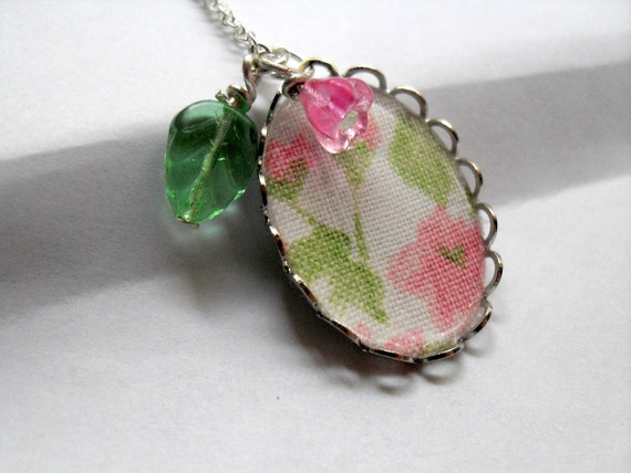 Pink Flower Spring Garden Necklace with Vintage Fabric