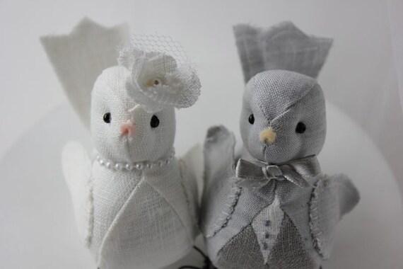Wedding  Cake topper Love Birds Light and Dark Grey  Ivory Linen   Ready to Ship
