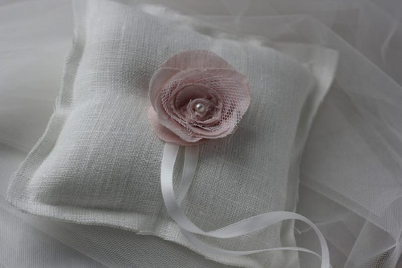 Linen Ivory Soft Pink  Rose Ring Bearer Pillow handmade  ready to ship