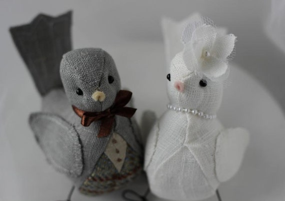 Wedding  Cake topper Love Birds Dark Grey Tweed and Ivory Linen Lace   Ready to Ship