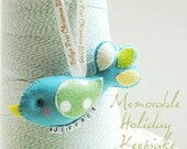 Baby First Christmas 2010 -- Conversation Birds Luxe Holiday Keepsake with Name Charm  (NO santa hat)