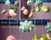 Musical Mobile BIRD PARADE, Custom Color to Match Your Nursery Decor, Baby Mobile for Modern Nursery, Baby Crib Bird Mobile, Bird Theme Room