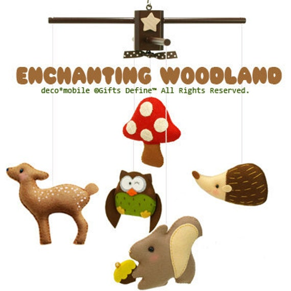 ENCHANTING WOODLAND Musical Baby Mobile - Woodland Forest Felt Hanging Mobile with music for Modern Nursery decor, Baby Crib, Kids Playroom