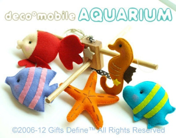 RESERVED for SSC - Musical Baby Mobile AQUARIUM Under the Sea Theme Nursery -  Custom Mobile Hand-Crafted for Kids Room or Nursery Decor