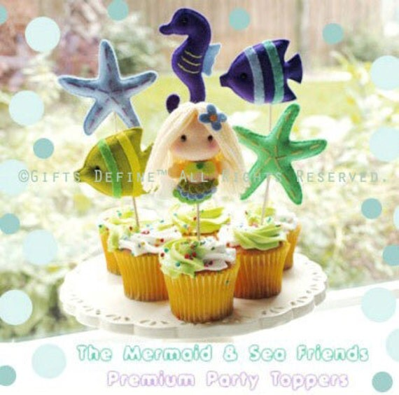 For Jessie Mermaid - reusable multi purpose cake topper,  birthday and baby shower favors, summer party