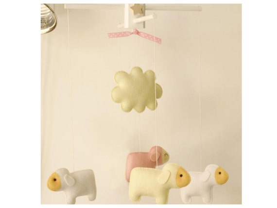 NEW -- COUNTING SHEEP Custom Decorative Mobile Hand-Crafted for the Home, Playroom or Nursery - Made to Order