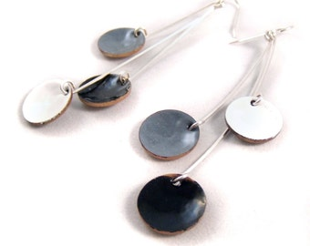 skyscraper pendula enamel earrings / onyx black, crisp white, slate gray