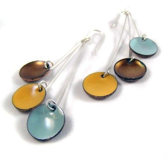 telecaster pendula enamel earrings / robin's egg blue, honey gold, mango yellow orange
