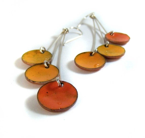 tangerine dream pendula enamel earrings / marigold, pumpkin, sunset orange