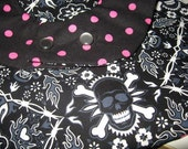 Bandana Skulls and Polka dots RVERSABLE toddler bib