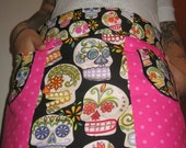 Candy Skull REVERSABLE Hostess Apron  MAKES A GREAT GIFT